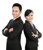 Man and woman office worker smiling Stock Photo