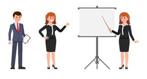 Man and woman office workers making report on flip chart. Vector illustration of cartoon character coworkers at presentation. royalty free illustration