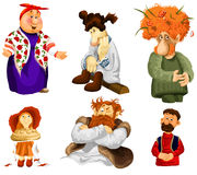 Man woman old girl rural folk clipart cartoon style  Stock Images