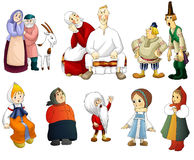 Man woman old young kids rural clipart cartoon style  Stock Image