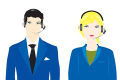 Man and woman operators Stock Photography