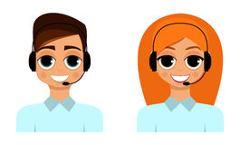A man and a woman are operators. Vector Royalty Free Stock Image