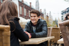 Man With Woman At Outdoor Restaurant Royalty Free Stock Image