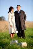 Man and woman outdoors Stock Photo