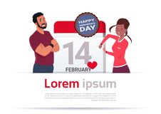 Man And Woman Over Calendar Day With 14 February Day Happy Valentines Holiday Template Banner. Flat Vector Illustration Stock Illustration