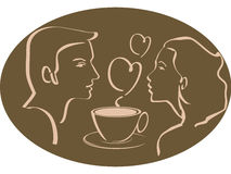 Man and woman over cup of coffee or tea with heart. Silhouette of a man or woman over a cup of tea, coffee or a hot chocolate cup with hearts in the background royalty free illustration