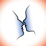 Man & woman pair, kissing each other with intimacy & sensuality. Royalty Free Stock Images