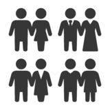 Man and Woman Pair People Icons Set. Vector royalty free stock photos