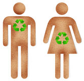 Man and woman paper craft with green recycle sign Royalty Free Stock Photos