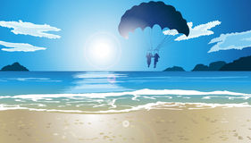 Man and woman are Parasailing. Against the sea landscape Stock Photo