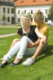 Man and woman in park. Royalty Free Stock Photo