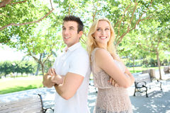 Man and Woman in Park Royalty Free Stock Photos
