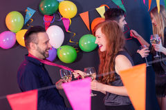 Man and woman on a party Royalty Free Stock Image