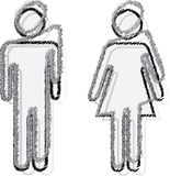 Man and woman. People sticker man and woman Royalty Free Stock Photos