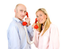 Man and Woman on Phone Royalty Free Stock Photos