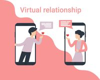 Man and woman phone small people love stock illustration