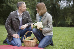 Man and woman by picnic Stock Photo