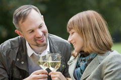 Man and woman by picnic Royalty Free Stock Photos