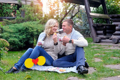 Man and woman on picnic in summer Stock Images