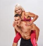Man woman piggybacked. fitness portrait Stock Image