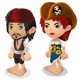 Man and woman in pirate clothes, cartoon people Royalty Free Stock Photo
