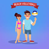 Man and Woman Playing Volleyball Stock Photography