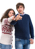 Man and woman pointing at camera Royalty Free Stock Photos