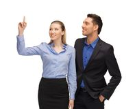 Man and woman pointing their fingers Royalty Free Stock Images