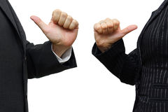 Man and woman  pointing to itself Stock Photos