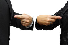 Man and woman  pointing to itself. rivalry & competition concept Stock Image