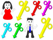 Man and woman pointing to the percentage. Discounts Royalty Free Stock Image