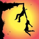 Man and woman on the precipice. Symbolic illustration, man and woman on the precipice Royalty Free Stock Photo