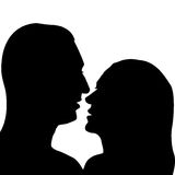 Man and woman preparing for a kiss Royalty Free Stock Images