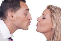 Man and woman preparing to kiss Royalty Free Stock Image