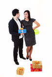 Man and woman with present. Man with present and woman isolated on white background Royalty Free Stock Images