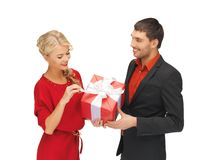 Man and woman with present Royalty Free Stock Photo
