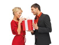 Man and woman with present Stock Image