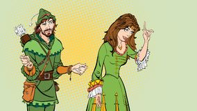 Man and woman. Princess teaching Robin Hood. Teaching princess. Lady in medieval dress. Medieval legend. Medieval woman. Man and woman. Princess teaching Robin Royalty Free Stock Photos