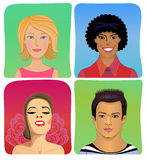 Man woman profile avatar vector set Stock Photos