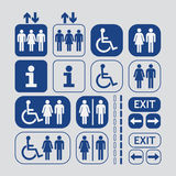 Man and Woman public access icons set Stock Photos