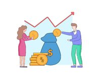 Man And Woman Put Gold Dollars into Blue Money Bag. Young Faceless Man And Woman Characters Put Gold Dollars into Blue Money Bag with Coin Pile nearby and stock illustration