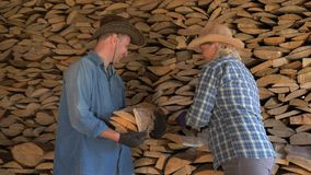 A man and a woman put together firewood in the woodshed helping each other. A cowboy man and a woman on a ranch in a woodshed together carefully fold their stock video footage