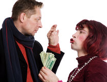 Man and woman quarrel. Because of the money on a white background Royalty Free Stock Photography