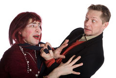 Man and woman quarrel Stock Photography