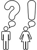 Man woman question exclamation answer. A symbol man and woman couple ask a question with a question mark and answer an exclamation mark in copyspace speech Royalty Free Stock Photography