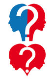 Man and woman with question mark, vector. Man and woman with question mark and heart, vector illustration Stock Photography