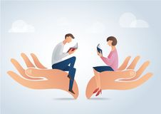 Man and woman reading books on big hands, education concept vector. Illustration Royalty Free Stock Photo