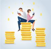 Man and woman reading books on coins, business concept vector. Illustration Royalty Free Stock Photo