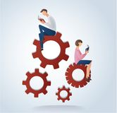 Man and woman reading books on gears icon, concept of education vector. Illustration Royalty Free Stock Photography