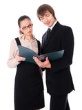 Man and woman is reading business documents Royalty Free Stock Image